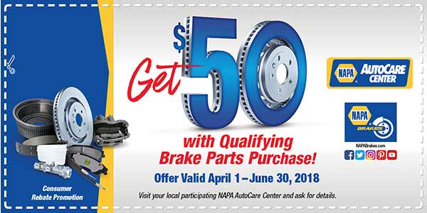 NAPA Brakes with a $50 Rebate